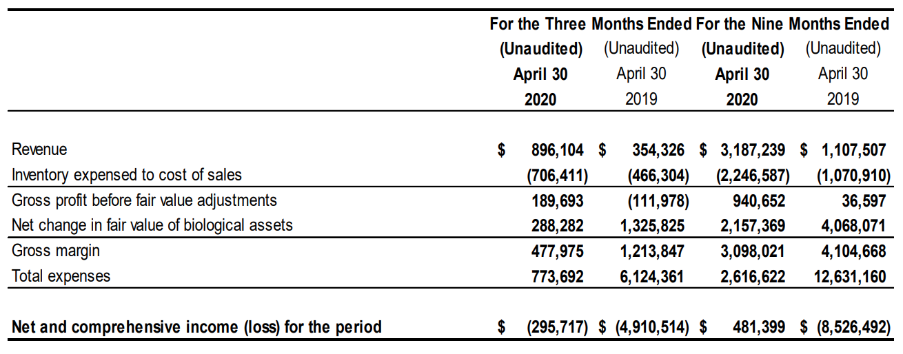 Q3 2020 Statement of Comprehensive Income (Loss) Summary
