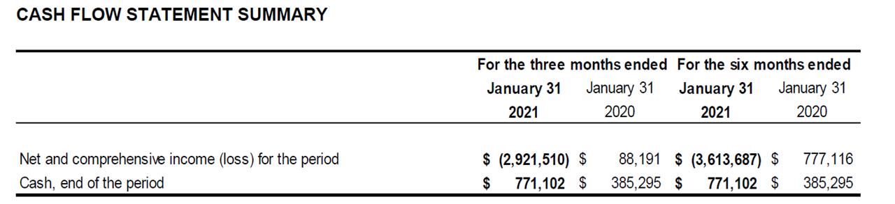 Q2 2021 Cash Flow Statement Summary